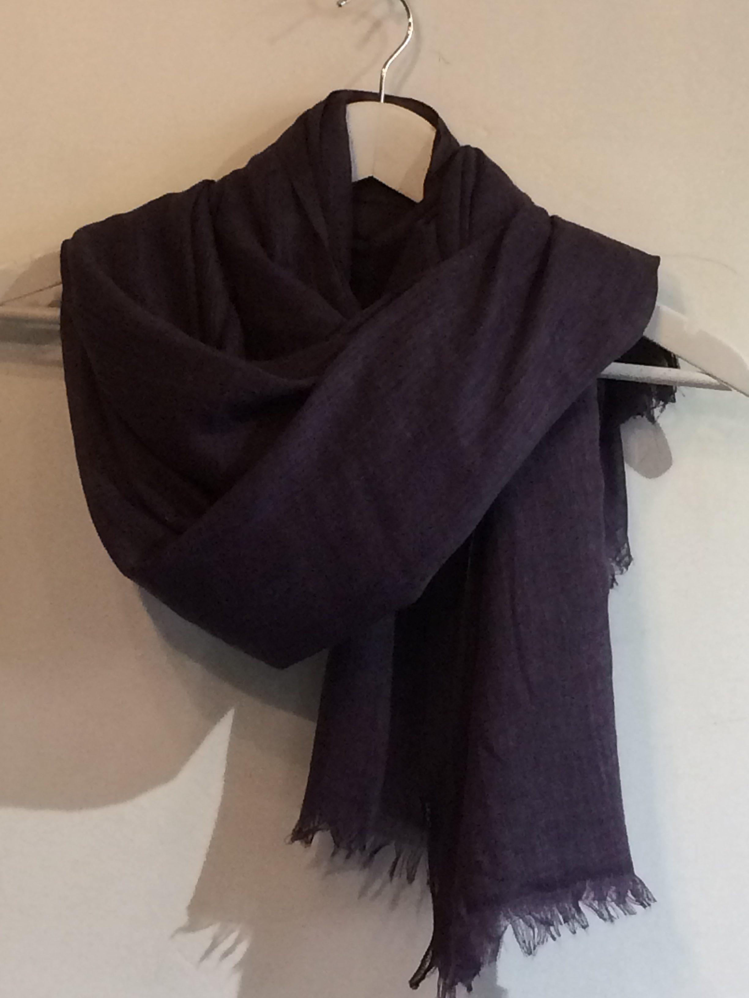 20a60ac806715 Cotton/wool mix plain scarf - dark purple - Jumping Ships UK